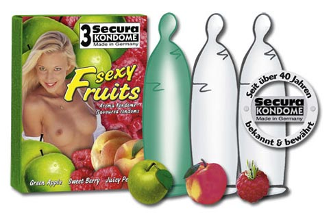 Makukondomit Sexy Fruits 3 kpl - Kondomit - 414018 - 1